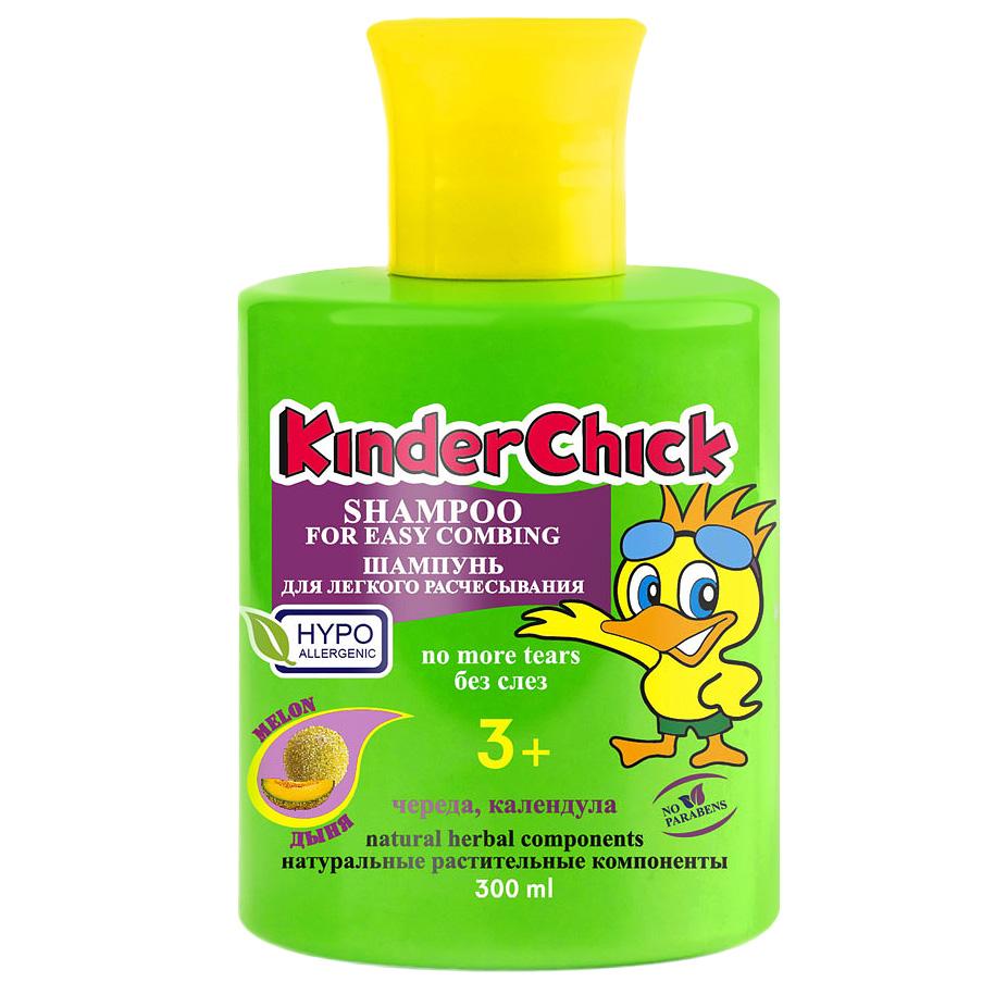 Kinder Chick Детский шампунь без слез Дыня, для легкого расчесывания, 300 млKCH06Нежный детский шампунь Kinder Chick Дыня очищает волосы особенно бережно и предотвращает сухость кожи головы. После мытья волосы легко расчесываются и приобретают шелковистый блеск. Обладает вкусным ароматом дыни, который непременно понравится вам и вашему ребенку. В состав шампуня входят натуральные растительные компоненты календулы и череды. Благодяря формуле Без слез шампунь не щиплет глазки. Без красителей и парабенов, pH-нейтральный. Гипоаллергенно. Идеально подходит и для взрослых. Не рекомендуется детям до 3-х лет. Товар сертифицирован.