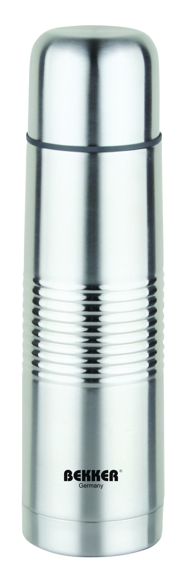 Термос металлический. BK-81 (0.5 L)BK-810,5л( для горячих и холодных напитков), крышка-чашка, вакуумная кнопка. Состав: нержав. сталь.