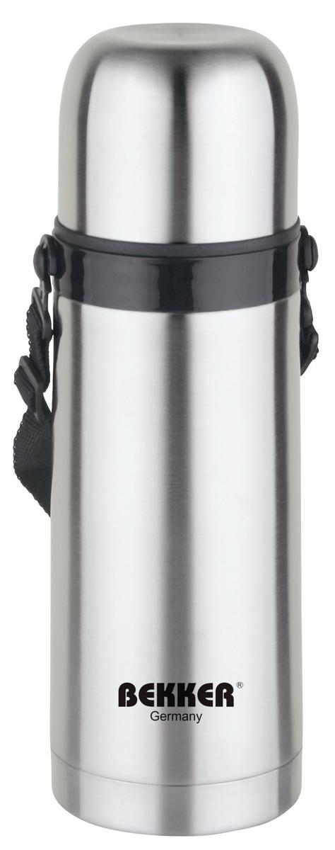Термос металлический. BK-84 (0.5L)BK-840,5л( для горячих и холодных напитков), крышка-чашка, вакуумная кнопка, ремень. Состав: нержав. сталь.