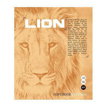 Тетрадь 96л А5ф клетка на скобе серия Тайны природы, цвет: оранжевый Lion96Т5B1_оранжевыйТетрадь 96л А5ф клетка на скобе серия Тайны природы, цвет: оранжевый Lion