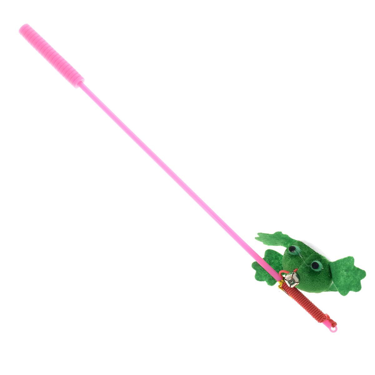 Игрушка для кошек V.I.Pet Дразнилка-удочка с лягушкой, с колокольчиком, цвет: розовый, зеленый, длина 37 смST-105_розовый, зеленыйИгрушка для кошек V.I.Pet Дразнилка-удочка с лягушкой, изготовленная из текстиля, синтепона и пластика, прекрасно подойдет для веселых игр с вашим пушистым любимцем. Играя с этой забавной дразнилкой, маленькие котята развиваются физически, а взрослые кошки и коты поддерживают свой мышечный тонус. Яркая игрушка на конце удочки оснащена колокольчиком и сразу привлечет внимание вашего любимца, не навредит здоровью и увлечет его на долгое время. Длина удочки: 37 см. Размер игрушки: 7,5 х 4 х 2,5 см.