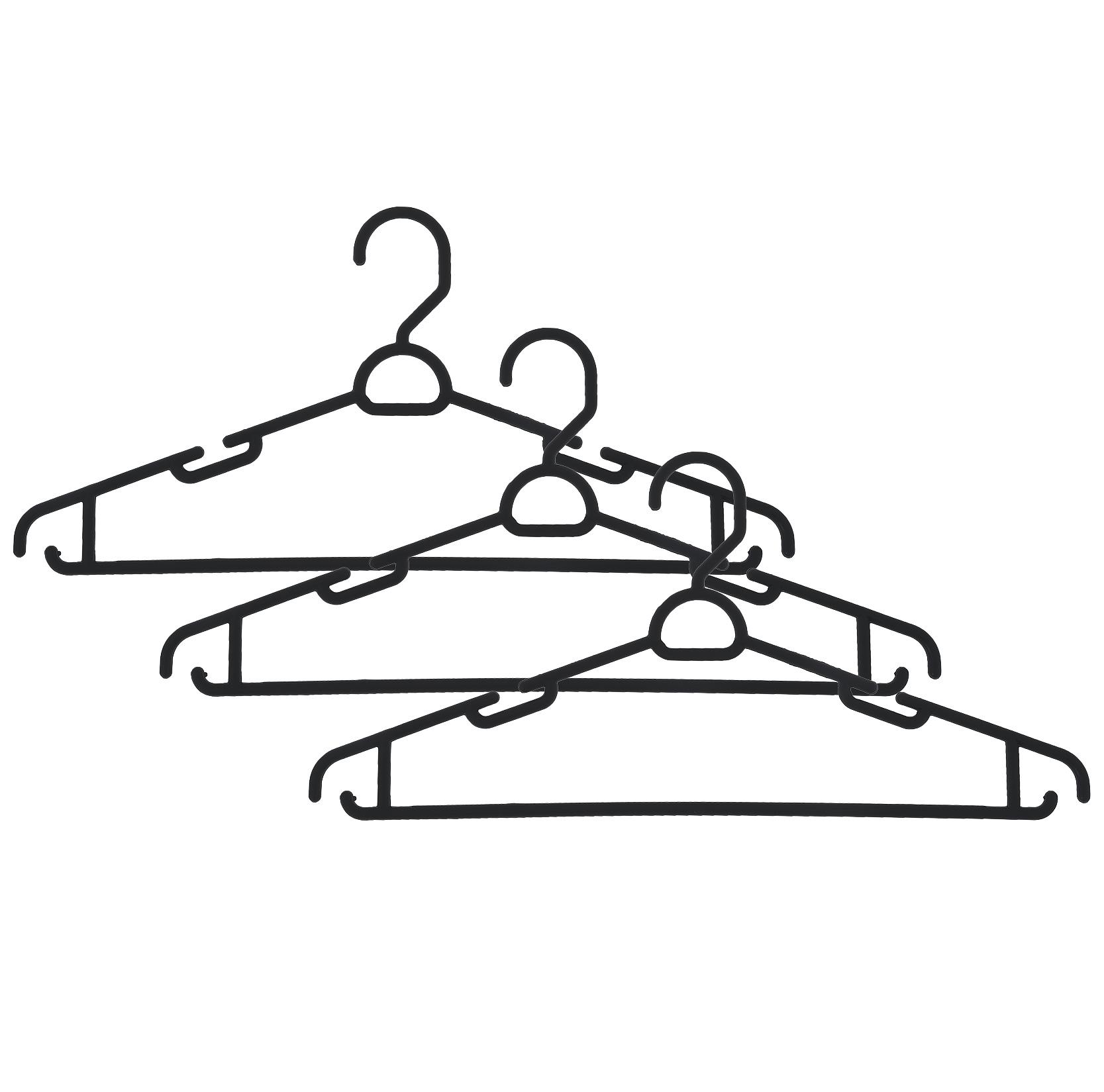 Набор вешалок Полимербыт, с перекладиной, с крючками, цвет: черный, размер 52-54, 3 штС911Набор Полимербыт, выполненный из прочного пластика, состоит из 3 вешалок. Каждое изделие оснащено перекладиной, боковыми крючками, а также выемками для петелек одежды. Вешалка - это незаменимая вещь для того, чтобы ваша одежда всегда оставалась в хорошем состоянии. Комплектация: 3 шт. Размер одежды: 52-54.