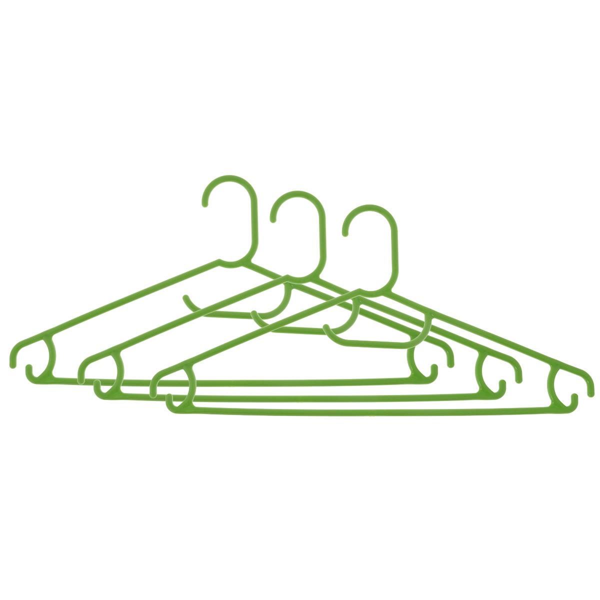 Набор вешалок Econova, цвет: салатовый, размер 48, 3 штС12354Набор Econova выполненный из прочного пластика, состоит из 3 вешалок. Каждое изделие оснащено перекладиной, боковыми крючками, а также крючком для галстуков. Вешалка - это незаменимая вещь для того, чтобы ваша одежда всегда оставалась в хорошем состоянии. Комплектация: 3 шт. Размер одежды: 48.