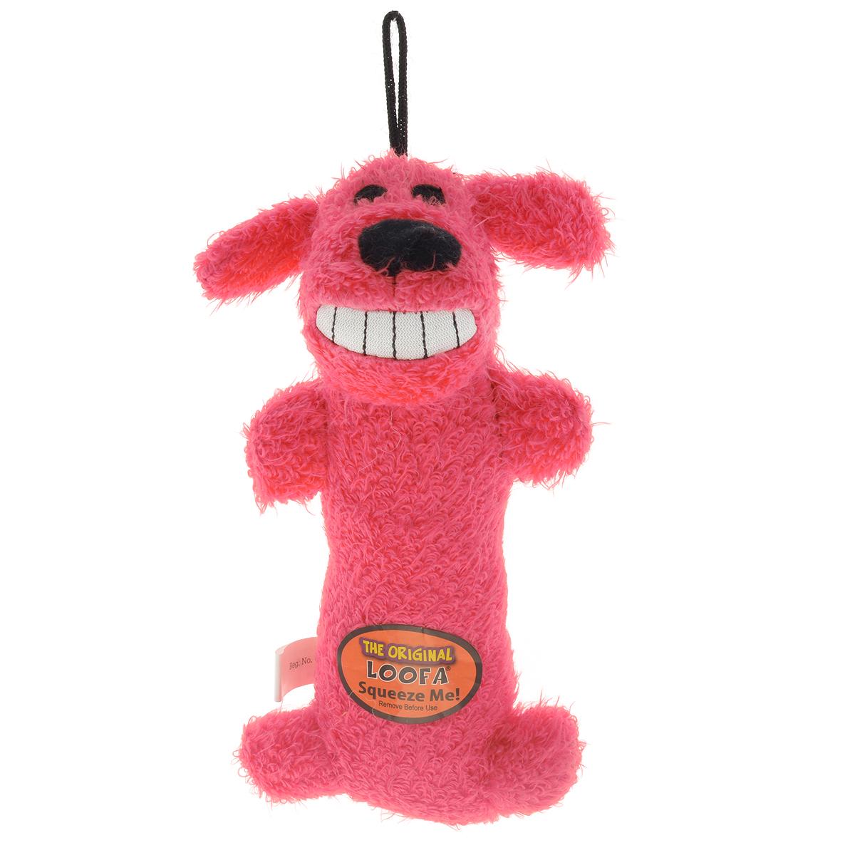 Игрушка для животных Multipet Собака, с пищалкой, цвет: розовый12-47711Игрушка Multipet Собака изготовлена из прочного и долговечного полиэстера, устойчивого к разгрызанию. Необычная и забавная игрушка прекрасно подойдет для собак и кошек, любящих плюшевые игрушки с пищалками, так как в игрушку вшиты 2 пищалки с разным звучанием.