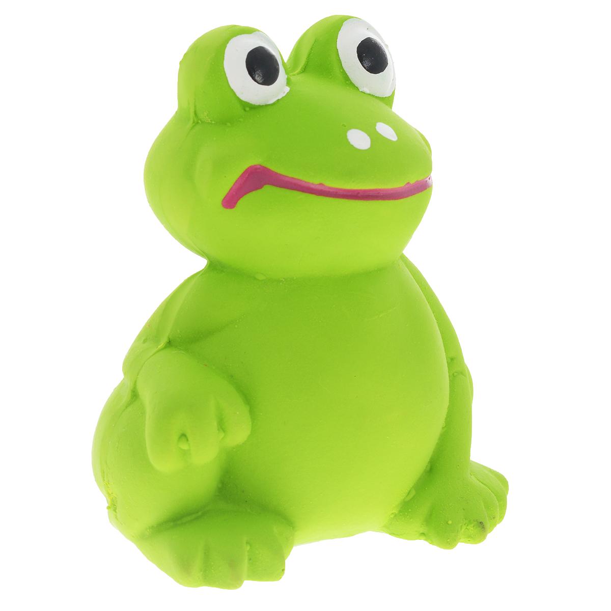 Игрушка для собак V.I.Pet Лягушка, цвет: зеленыйL-126Игрушка V.I.Pet Лягушка изготовлена из латекса с использованием только безопасных, не токсичных красителей. Великолепно подходит для игры и массажа десен вашей собаки. Забавная лягушка при надавливании или захвате пастью, пищит. Такая игрушка порадует вашего любимца, а вам доставит массу приятных эмоций, ведь наблюдать за игрой всегда интересно и приятно. Оставшись в одиночестве, ваша собака будет увлеченно играть в эту игрушку.