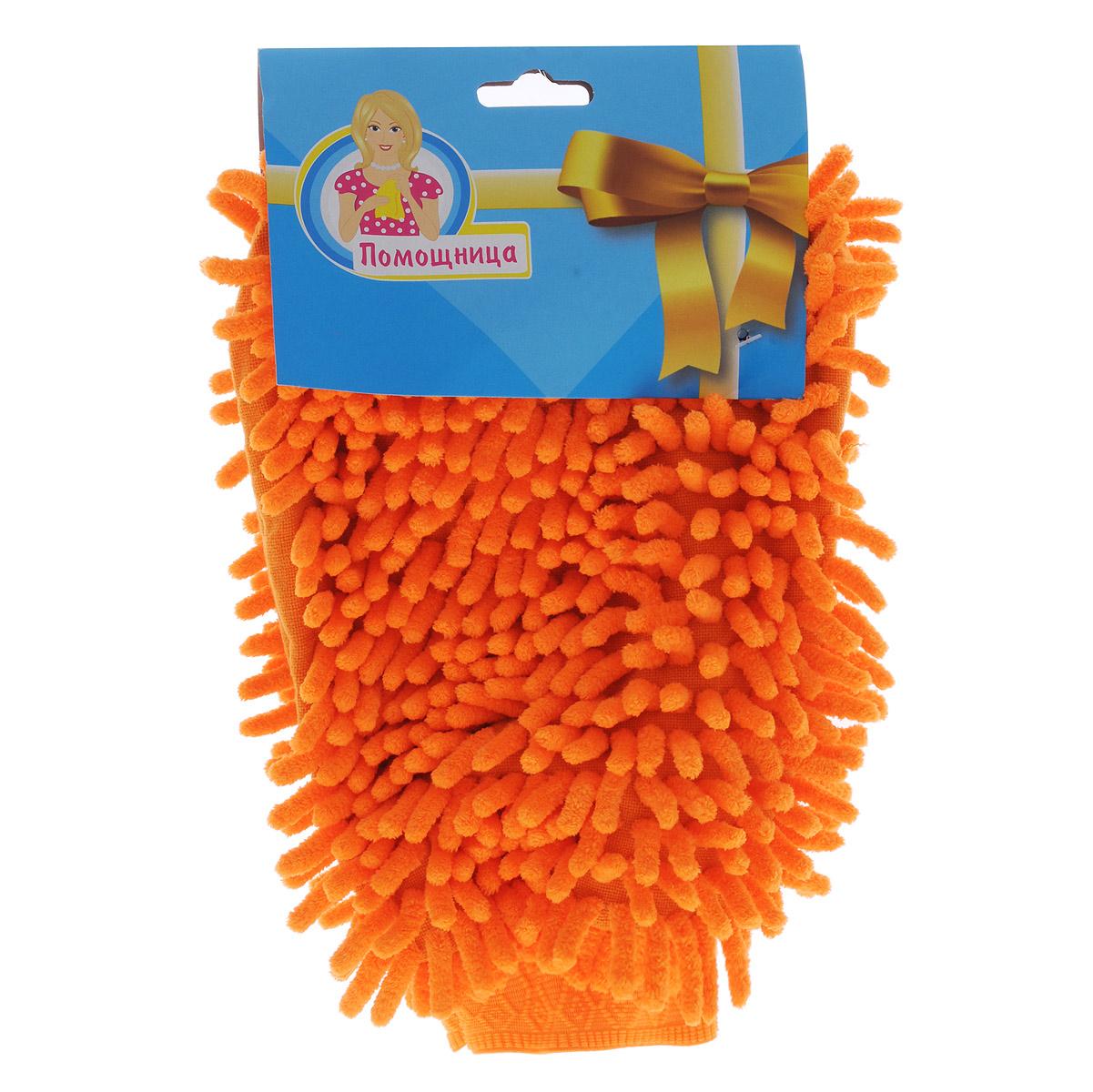 Рукавица для уборки Eva Спагетти, двусторонняя, цвет: оранжевый, 26 см х 19 смЕ74Двусторонняя рукавица Eva Спагетти, изготовленная из микрофибры (полиэстера, полиамида), легко удаляет пыль, деликатно моет поверхности, мягко удаляет сильные загрязнения, применяется как в сухом, так и во влажном виде. Рукавица удобно держится на руке и великолепно впитывает воду. Идеально подходит для уборки, как в доме, так и в автомобиле.