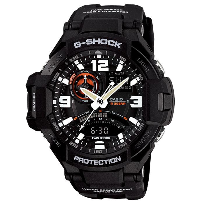 Наручные часы Casio GA-1000-1AGA-1000-1AУдаропрочные наручные часы Casio GA-1000. Неоновая подсветка: Светодиодная лампочка внутри часов испускает ультрафиолетовый свет. Циферблат и стрелки часов покрыты флуоресцентным материалом, обеспечивающим особый вид подсветки для того, чтобы подсветить стрелки и указатели часов. Неоновый дисплей: Светящееся покрытие обеспечивает длительную подсветку в темное время суток после короткого воздействия света. Термометр: Датчик измеряет температуру окружающего воздуха вокруг часов и отображает ее на экране в градусах °C (-10°C /+60°C). Функция секундомера: Прошедшее время измеряется с точностью в 1/100 секунды. Пределы измерения достигают 24 часов. Функция таймера: Для поклонников точности: таймеры обратного отсчета напомнят Вам о текущих или особенных событиях, издав звуковой сигнал в установленное время. Время можно предварительно настроить от 1 минуты и до 1 часа. Идеальное решение для людей,...