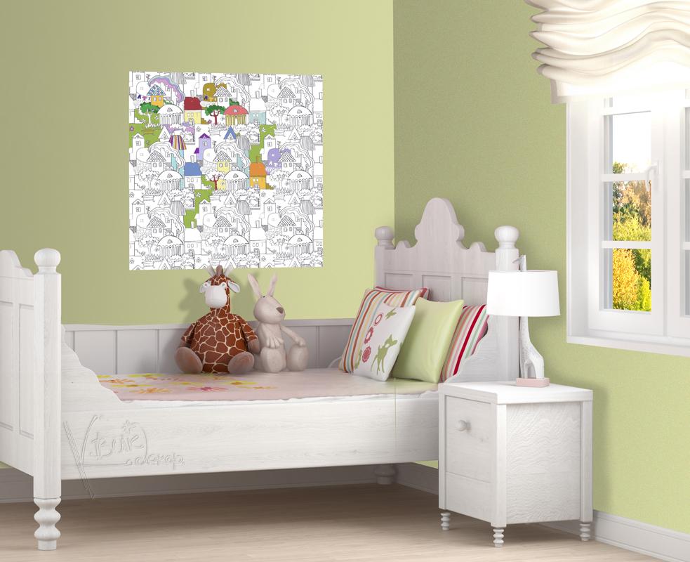 Раскраска-наклейка КвикДекор Городок, 72,5 см х 72,5 смCR-13-0001-2Раскраски печатаются на самоклеящемся полиэстере латексными чернилами, абсолютно не пахнут. Именно такой вид печати рекомендуется для детской продукции. Материал легко клеится на любую гладкую поверхность, включая мебель, стекло, плитку, а также виниловые обои (кроме бумажных обоев). Отлично переклеиваются и не оставляют следов. Размеры раскрасок позволяют одновременно играть сразу нескольким ребятишкам. Прекрасно раскрашиваются цветными карандашами, фломастерами, восковыми мелками, даже пластилином и красками. Дети выбирают сами - удобнее им красить картинки сразу на стене или заняться творчеством за столом, а потом наклеить на видное место готовую красоту! Раскраски-наклейки упакованы в картонные тубусы с жестяными крышечками. В таком виде они необычайно хороши для подарка и надежно сохраняются при транспортировке и хранении. А тубус потом можно использовать в хозяйстве и творчестве.