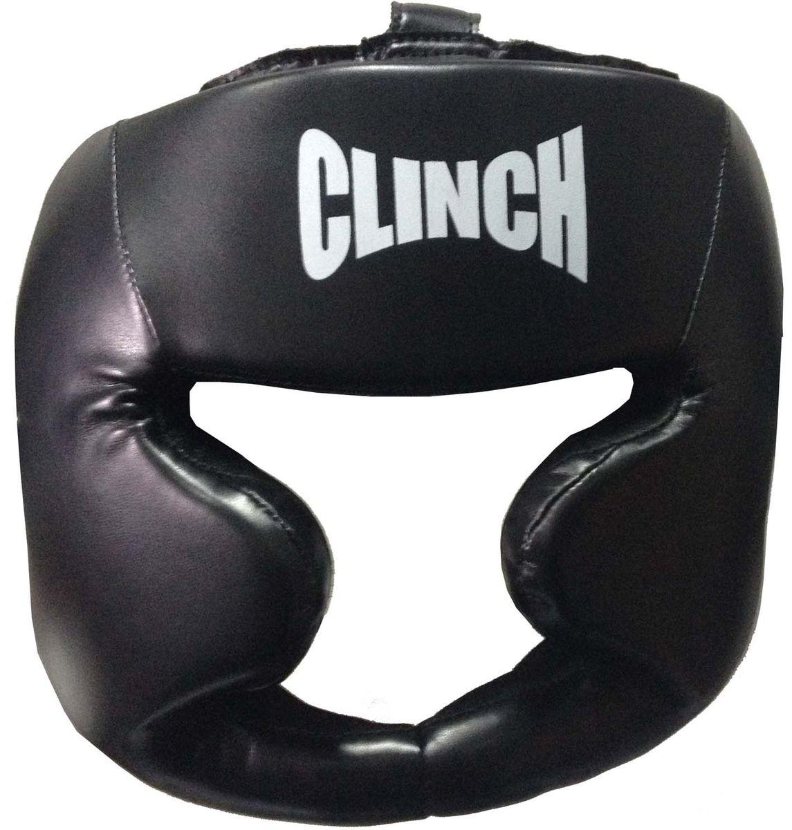 Шлем боксерский Clinch Full Face, цвет: черный. Размер S/MC199Тренировочный шлем Clinch Full Face предназначен для занятий боксом и единоборствами. Изготовлен из японского флексополиуретана Pu Flex Leather. Оснащен удобной подкладкой из мягкого инновационного материала. Полная защита щек и подбородка, усиленная защита области ушей. Фиксацию обеспечивает застежка на двойной липучке на затылке. Верх головы регулируется при помощи липучки.