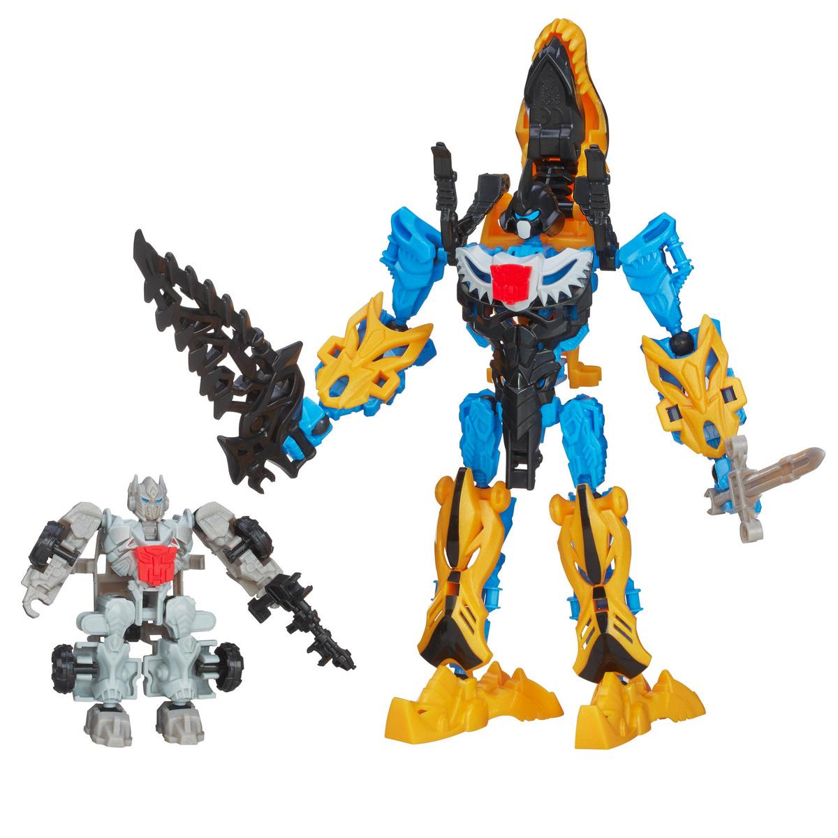 Transformers Констракт-Боты: Silver Knight Optimus Prime & GrimlockA7858E240Конструктор Transformers Констракт-Боты Silver Knight: Optimus Prime & Grimlock понравится вашему маленькому поклоннику Трансформеров и не позволит ему скучать. В комплект входят 44 ярких пластиковых элемента, с помощью которых можно собрать фигурки Оптимуса Прайма и Гримлока - персонажей популярных мультсериалов о Трансформерах. Гримлок может трансформироваться в диноробота, Оптимус Прайм - в боевую машину. В комплект входят 2 буклета со схематичными инструкциями для сборки фигурок. Ваш ребенок часами будет играть с конструктором, придумывая разные истории. Порадуйте его таким замечательным подарком!