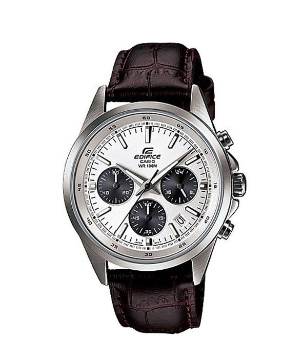 Наручные часы Casio EFR-527L-7AEFR-527L-7AНаручные часы Casio EFR-527L. Неоновый дисплей: Светящееся покрытие обеспечивает длительную подсветку в темное время суток после короткого воздействия света. Дисплей с датой: На дисплее отображается текущая дата. Функция секундомера - 1 час: Измерение с точностью до секунды прошедшего времени и времени окончания. Сигналы подтверждают о выборе запуска/остановки. Пределы измерения достигают до 1 часа. Минеральное стекло: Прочное, устойчивое к царапинам минеральное стекло защищает часы от повреждений. Крышка с винтовым фиксатором: Резьбовое соединение на основании корпуса оптимально защищает внутренний механизм часов и одновременно обеспечивает легкий доступ, например, при замене аккумулятора. Ремешок из натуральной кожи: Ремешок из высококачественной натуральной кожи сочетает в себе долговечность, стиль и максимальный комфорт. 2 года - 1 аккумулятор: Аккумулятор...