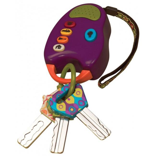 Развивающая игрушка Fun Keys, цвет: фиолетовый68601Развивающая игрушка Fun Keys понравится вашему ребенку и станет для него любимым подарком. Игрушка выполнена в виде ключей от машины, состоит из музыкального блока с прикрепленными к нему тремя разноцветными ключами, которые висят на одной связке. Музыкальный блок имеет пять ярких кнопочек овальной формы с изображением дома, машинки, лампочки и других рисунков. При нажатии на них, звучат четыре звука, характерные для нарисованных предметов, а при нажатии на кнопочку с нарисованной лампочкой загорается свет, и блок начинает светить как фонарик. К блоку при помощи колечка подвешены три ключика разной формы и цвета. Ключи сделаны из безопасного материала, который можно грызть. Коробка сделана таким образом, что если верхнюю ее часть снять, то получиться подарочная упаковка. Развивающая игрушка Fun Keys способствует развитию мелкой моторики рук, цветовосприятия и звуковосприятия. Характеристики: Размер музыкального блока: 7 см x 9 см x 2,5 см. Средний...