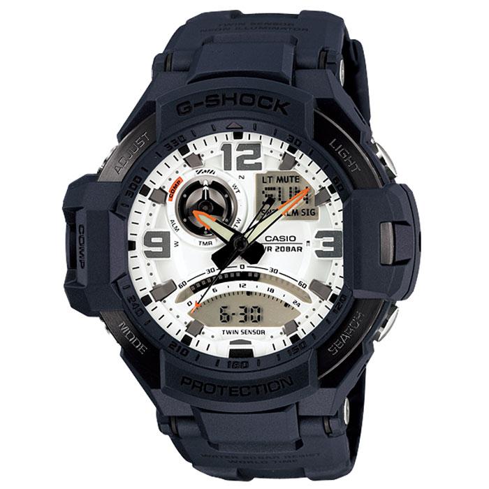 Наручные часы Casio GA-1000-2AGA-1000-2AУдаропрочные наручные часы Casio GA-1000. Неоновая подсветка: Светодиодная лампочка внутри часов испускает ультрафиолетовый свет. Циферблат и стрелки часов покрыты флуоресцентным материалом, обеспечивающим особый вид подсветки для того, чтобы подсветить стрелки и указатели часов. Неоновый дисплей: Светящееся покрытие обеспечивает длительную подсветку в темное время суток после короткого воздействия света. Термометр: Датчик измеряет температуру окружающего воздуха вокруг часов и отображает ее на экране в градусах °C (-10°C /+60°C). Функция секундомера: Прошедшее время измеряется с точностью в 1/100 секунды. Пределы измерения достигают 24 часов. Функция таймера: Для поклонников точности: таймеры обратного отсчета напомнят Вам о текущих или особенных событиях, издав звуковой сигнал в установленное время. Время можно предварительно настроить от 1 минуты и до 1 часа. Идеальное решение для людей,...