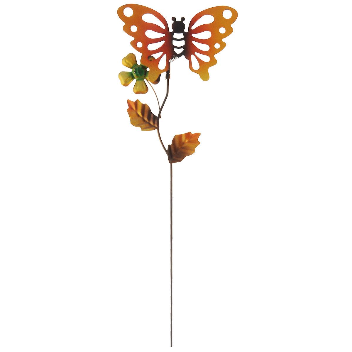 Украшение на ножке Village People Ажурные бабочки, цвет: золотистый, высота 35 см. 66976_366976_3Украшение на ножке Village People Ажурные бабочки изготовлено из металла и предназначено для украшения садового участка, клумб, грядок, а также для поддержки и правильного роста декоративных растений. Очень легко вставляется в землю. Размер бабочки: 12 см х 8 см х 0,1 см. Диаметр цветка: 4,5 см.