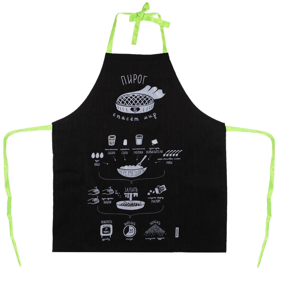 Фартук Melompo Пирог, 76 х 68 см22426Фартук Melompo Пирог поможет вам избежать попадания еды на вашу одежду во время приготовления какого-либо блюда. Выполнен из хлопка и полиэстера. На фартуке имеются удобная лямка и завязки. На фартук нанесен рецепт простого и вкусного вишневого пирога. Крой универсальный, подходит кулинарам обоих полов и разных комплекций.