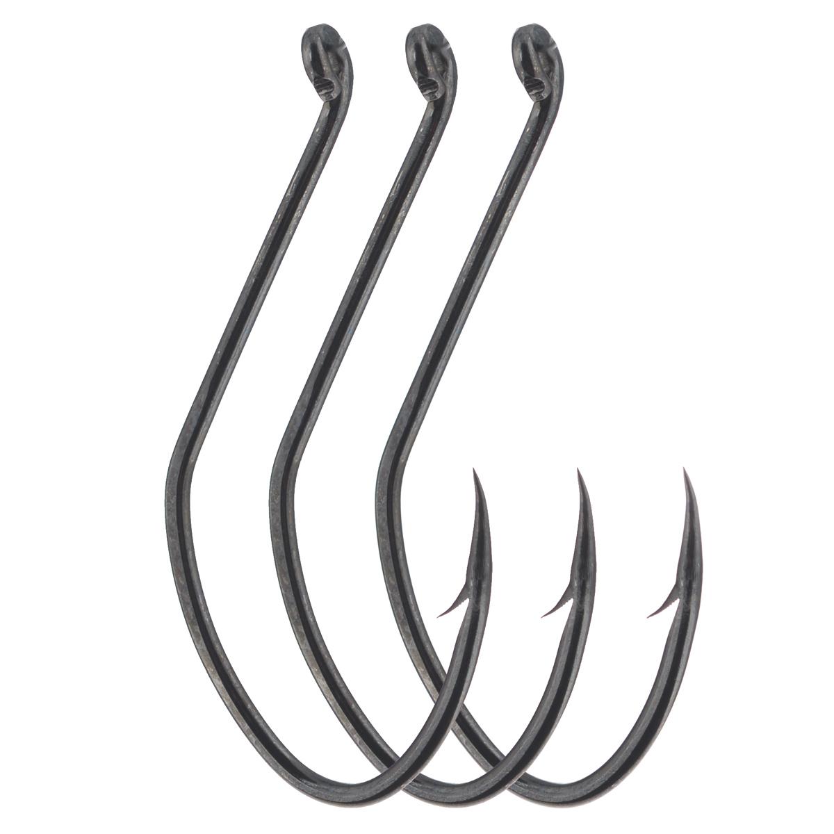 Крючки рыболовные Cobra Catfish, цвет: черный, размер 8/0, 3 штC1102NSB-K080Прочные крючки Cobra Catfish для ловли трофейной рыбы, прекрасно удерживает различные насадки. Данные крючки хорошо себя зарекомендовали при ловле на живую насадку - своим весом они не стесняют ее движений. Благодаря специальной заточке жала, крючок легко пробивает прочную хрящевую и костную ткань. Чуть отогнутое назад колечко позволяет привязывать крючок к леске различными способами.