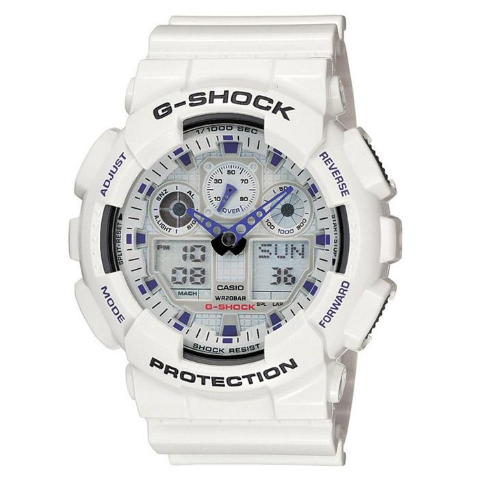 Наручные часы Casio GA-100A-7AGA-100A-7AВодонепроницаемые и противоударные часы Casio GA-100. Длина ремешка с учетом корпуса 24,5 см. Ширина ремешка 2,2 см. Диаметр корпуса 5 см.
