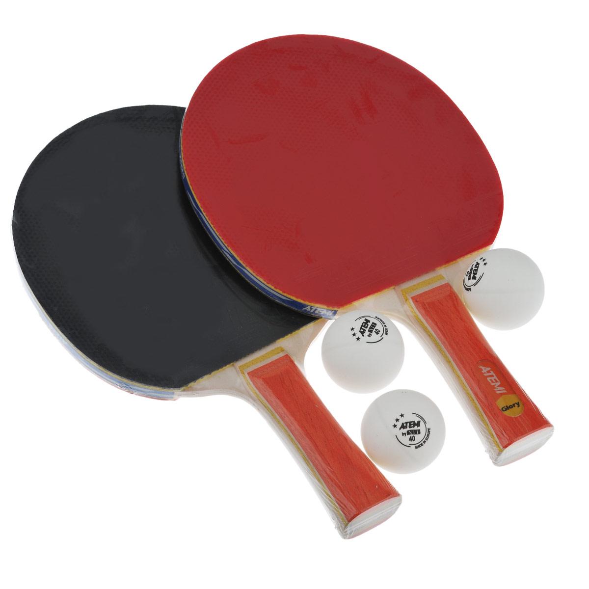 Набор для настольного тенниса Atemi Glory, 5 предметов89146Набор для настольного тенниса Atemi Glory включает в себя 2 ракетки и 3 белых мячика, предназначен для тренировок. Ракетки выполнены из пятислойной фанеры и оснащены накладками из резины толщиной 1,8 мм. Анатомическая рукоятка эргономичной формы специально разработана для надежного хвата и комфортной игры. Хороший контроль, отличные игровые характеристики, высокая скорость игры. Настольный теннис - спортивная игра, основанная на перекидывании мяча ракетками через игровой стол с сеткой, цель которой - не дать противнику отбить мяч. Игра в настольный теннис развивает концентрацию, внимание, ловкость и координацию. Длина ракетки: 25 см. Диаметр шара: 4 см.