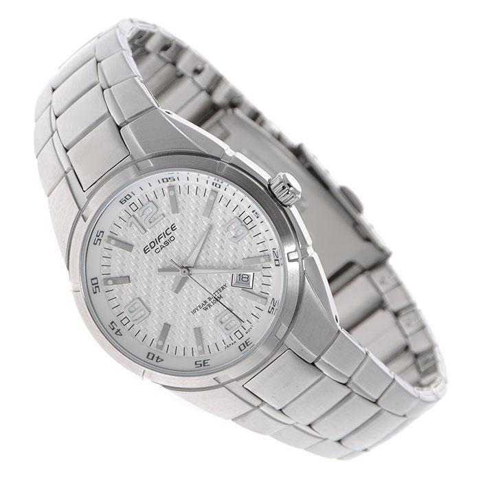 Наручные часы Casio EF-125D-7ASTR-300C-2Мужские часы Casio EF-125D. Светящееся покрытие обеспечивает длительную подсветку в темное время суток после короткого воздействия света Прочное, устойчивое к царапинам минеральное стекло защищает часы от повреждений Поверхность стекла часов является выпуклой. Это обеспечивает высокий уровень прочности и устойчивости к давлению Резьбовое соединение на основании корпуса оптимально защищает внутренний механизм часов и одновременно обеспечивает легкий доступ, например, при замене аккумулятора Надежный, прочный и элегантный: браслет из нержавеющей стали придает Вашим часам классический вид Всегда надежно: у этих часов есть особая безопасная предохранительная защелка, которая помогает предотвратить случайное расстегивание ремешка Десять лет - один аккумулятор. Новые разработки в электронике обеспечивают значительно более низкое потребление энергии Идеально подходит для плавания с маской и трубкой: часы являются водонепроницаемыми до 10...