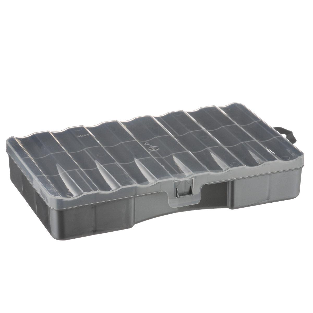 Органайзер Профи 12, цвет: серый, прозрачный, 25 х 15,8 х 4,5 смС512Органайзер Профи 12 выполнен из высококачественного пластика и предназначен для хранения различных мелочей. В органайзере имеется 12 ячеек, размер которых позволяет хранить в них различные бусины, мелочи для рукоделия, например, бисер, блестки, стразы и другое. Изделие плотно закрывает прозрачной крышкой с защелкой. С таким органайзером у вас всегда будет порядок на вашем рабочем столе.