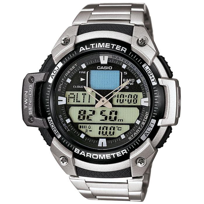 Наручные часы Casio SGW-400HD-1BSGW-400HD-1BМужские часы Casio SGW-400HD-1B для занятий спортом. 12/24-х часовой формат времени Полностью автоматический календарь до 2099 года Возможность установки 5-ти вариантов будильника Термометр - измерение от -10С до + 60С, шаг измерений 0,1С Секундомер - точность 1/100, максимально измеряемое время 24 часа Светодиодная подсветка обеспечивает освещение всего циферблата Мировое время - отображение текущего времени в 29 зонах - 30 городов Таймер - обратный отсчет времени, при окончании отсчета издается 10-ти секундный сигнал. Минимальный интервал 1 минута, максимальное время установки 24 часа Барометр - показания от 260 КП до 1100 КП, шаг измерений 1 КП, графическое отображение изменений за последние 24 часа Альтиметр - позволяет измерять колебания высоты от -700 метров до 10000 метров. Измерение высоты - встроенный датчик давления измеряет барометрическое давление, пересчитываемое в относительную высоту. Память на 14 изменений высоты с...