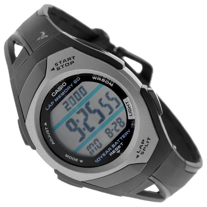 Наручные часы Casio STR-300C-1STR-300C-1Женские часы Casio STR-300C-1 для занятий спортом. Светодиодная подсветка обеспечивает освещение всего циферблата, при наклоне часов в сторону лица включается автоподсветка Одновременное отображение текущего времени в двух разных часовых поясах Максимальное время непрерывной работы секундомера 100 часов, шаг измерения 1/100. Режимы Lap и Split (результат промежуточного финиша и нарастающий итог). 60 ячеек памяти для сохранения результатов Функция шагомера, позволяющая отсчитывать количество пройденных шагов и на основании этих данных рассчитывать пройденную дистанцию Таймер с функцией повтора сигнала - секундомер обратного отсчета, при окончании отсчета издается 10-ти секундный сигнал, после чего автоматически возобновляется отсчет установленного времени. Максимальное время установки 100 часов, шаг измерения 1/1 минута Возможность установки 5 независимых будильников, дополнительно при установке будильника можно задать нужный день недели или...