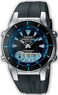Наручные часы Casio MRP-700-1AMRP-700-1AАналогово-цифровые часы Casio MRP-700-1A для морского отдыха с функциями отображения приливов и отливов, фазы луны. Формат времени 12/24 Секундомер с точностью измерения 1/100 сек, запас измерения 24 часа Таймер с автоповтором с отсчетом времени от 1 минуты до 24 часов Отображение двух часовых поясов Звуковой сигнал: 3 будильника с повторным сигналом Длительный срок службы батареи - 10 лет Точность хода ±30с/мес
