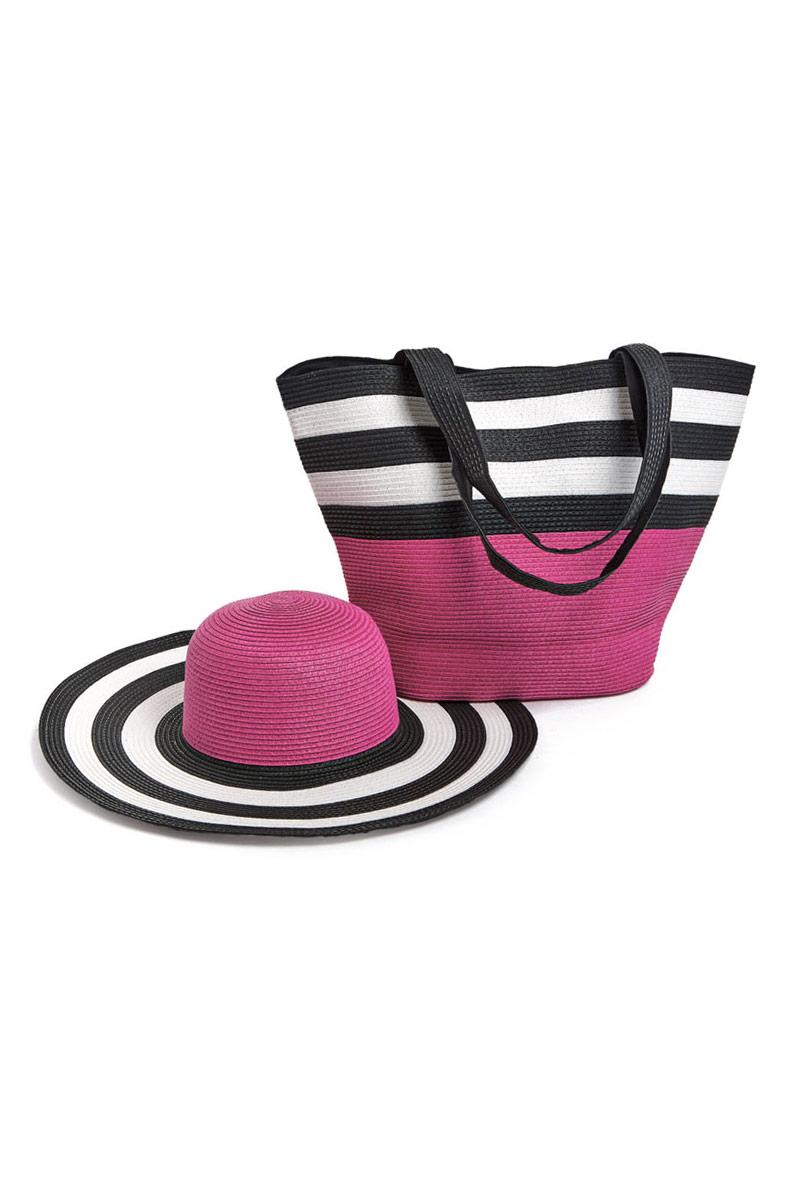 Комплект Moltini: сумка, шляпа, цвет: малиновый, черный, белый, 15C02015C020Оригинальный пляжный комплект Moltini, состоящий из сумки и шляпы, выполнен из плотного текстиля. Комплект выполнен в едином стиле и оформлен яркими цветами. Сумка состоит из одного вместительного отделения и закрывается на магнитную кнопку. Внутри размещены два накладных кармана для телефона и мелочей и один вшитый карман на молнии. Оригинальная форма ручек и натуральные материалы делают эту сумку особенно удобной для ношения на плече. Шляпа надежно защитит волосы и лицо от ярких солнечных лучей. Шляпа выполнена в едином стиле с сумкой и достойно завершит комплект. Комплект Moltini идеально подойдет для похода на пляж, для загородной поездки.