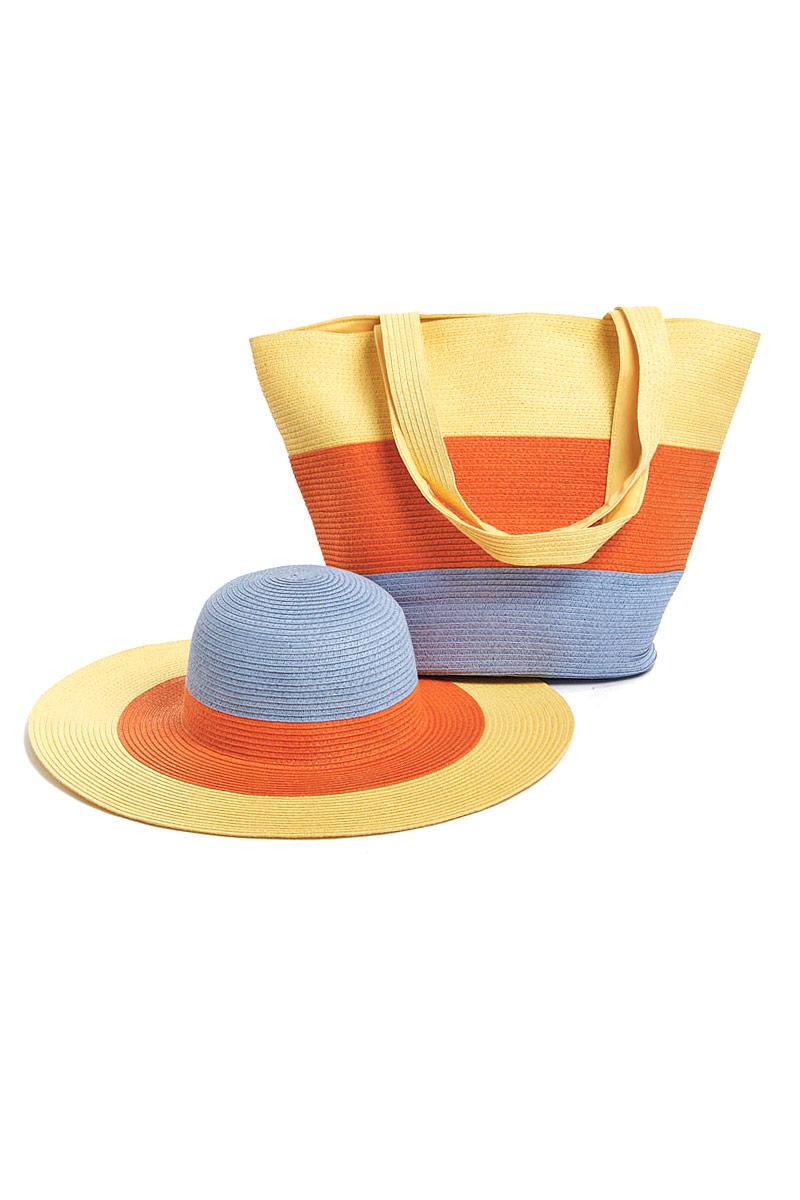 Комплект Moltini: сумка, шляпа, цвет: желтый, оранжевый,голубой. 15X00515X005Оригинальный пляжный комплект Moltini, состоящий из сумки и шляпы, выполнен из плотного текстиля. Комплект выполнен в едином стиле и оформлен яркими цветами. Сумка состоит из одного вместительного отделения и закрывается на магнитную кнопку. Внутри размещены два накладных кармана для телефона и мелочей и один вшитый карман на молнии. Оригинальная форма ручек и натуральные материалы делают эту сумку особенно удобной для ношения на плече. Шляпа надежно защитит волосы и лицо от ярких солнечных лучей. Шляпа выполнена в едином стиле с сумкой и достойно завершит комплект. Комплект Moltini идеально подойдет для похода на пляж, для загородной поездки.