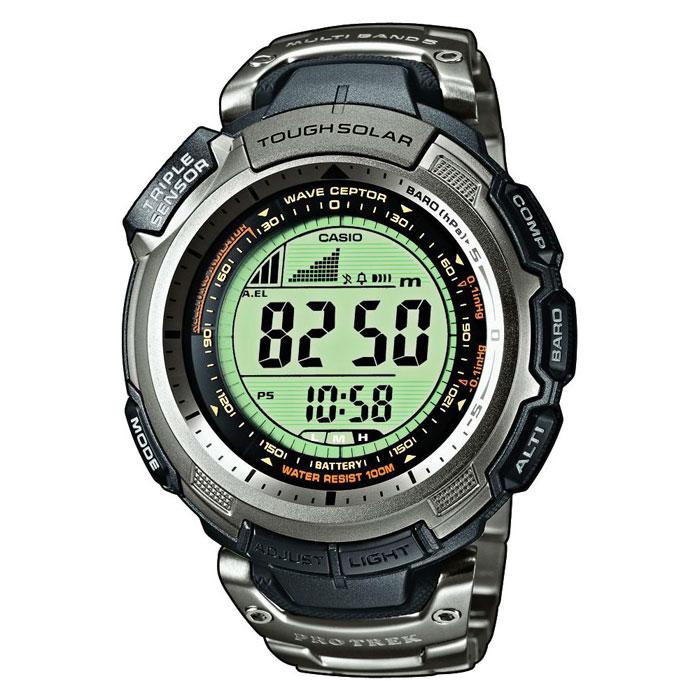 Наручные часы Casio PRW-1300T-7VPRW-1300T-7VЧасы Casio Pro Trek PRW-1300T-7V, а точнее, настоящее устройство для туристов, путешественников и всех тех, кто не мыслит свою жизнь без приключений. Вы будете приятно удивлены наличием Трех сенсоров (встроенного барометра, компаса, термометра), а также высотомера, что делает Protrek вашим верным другом в любом путешествии. Страна происхождения: Таиланд.