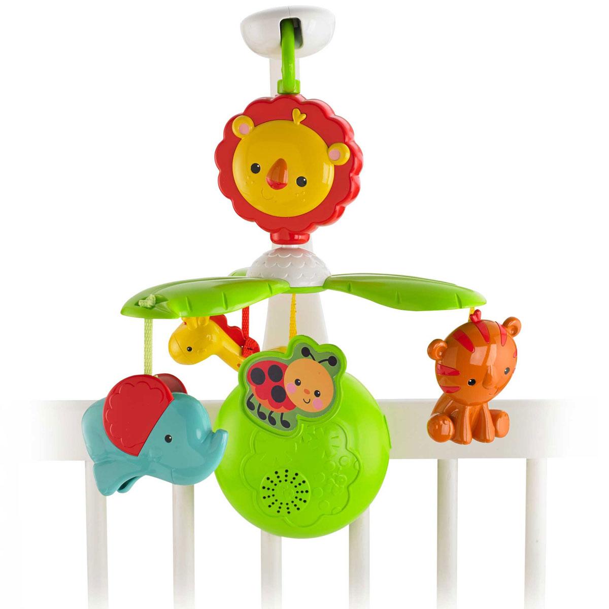 Fisher-Price Newborn Мобиль Растем вместеY6599Музыкальный мобиль Fisher-Price Растем вместе - оригинальная игрушка, создающая атмосферу уюта и спокойствия в детской комнате. Под приятные мелодии на мобиле медленно вращаются три игрушки, выполненные из пластика в виде жирафика, слоника и тигренка. К кроватке малыша крепится музыкальный блок, в него вставляется кронштейн. К кронштейну крепится соединительное звено в виде головы льва и мобиль в виде листиков с божьей коровкой, а к нему подвешиваются игрушки. Устройство предусматривает четыре режима использования: Мобиль для кроватки. Он проигрывает успокаивающую музыку и звуки сердцебиения. До 15 минут звучания; Мобиль для коляски. Для использования в коляске верхняя часть мобиля легко снимается и помещается на навес для развлечения на прогулке, где он будет вращаться над головой малыша в течение 3 минут; Музыкальное устройство для коляски. Кронштейн с мобилем и игрушками можно снять, оставив только музыкальный блок; Съемные игрушки. Их можно...