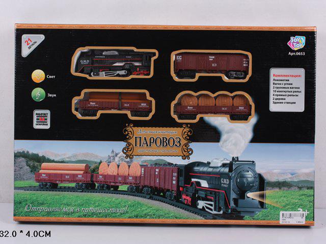 Ж/д 0653 21 деталь, свет, на батарейках, в коробкеA176-H06212Joy Toy Эшелон - это железная дорога, которая имеет автономное питание. Подвижной состав состоит из локомотива и одного вагона. Модель оснащена световыми, музыкальными и дымовыми эффектами. Игрушка развивает у детей фантазию, воображение, творческие способности, пространственное мышление. Для ее работы необходимо приобрести 4 батарейки AA типа.