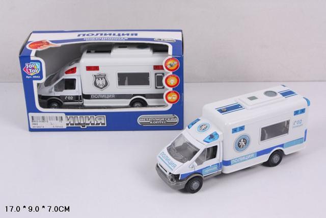 Машина 0943 полиция, металл, со светом и звуком, в коробкеB503-H09013Машинки - это одни из любимых игрушек большинства мальчиков. Им обязательно понравится представленный автомобиль, с которым можно устраивать различные игры. Инерционная машина с подсветкой и звуковыми эффектами - отличный подарок на любой праздник!