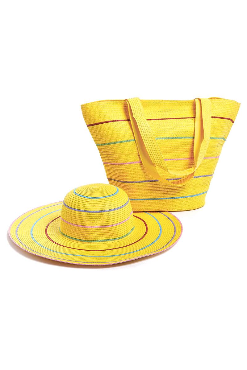 Комплект Moltini: сумка, шляпа, цвет: желтый. 15T02115T021Оригинальный пляжный комплект Moltini, состоящий из сумки и шляпы, выполнен из плотного текстиля. Комплект выполнен в едином стиле и оформлен яркими цветами. Сумка состоит из одного вместительного отделения и закрывается на магнитную кнопку. Внутри размещены два накладных кармана для телефона и мелочей и один вшитый карман на молнии. Оригинальная форма ручек и натуральные материалы делают эту сумку особенно удобной для ношения на плече. Шляпа надежно защитит волосы и лицо от ярких солнечных лучей. Шляпа выполнена в едином стиле с сумкой и достойно завершит комплект. Комплект Moltini идеально подойдет для похода на пляж, для загородной поездки.