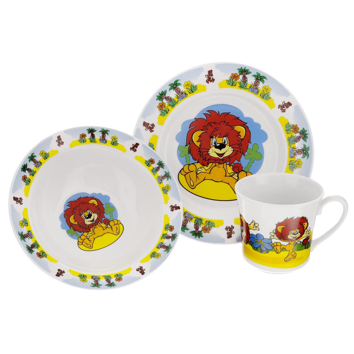 Набор детской фарфоровой посуды Союзмультфильм Как львенок и черепаха песню пели, 3 предмета