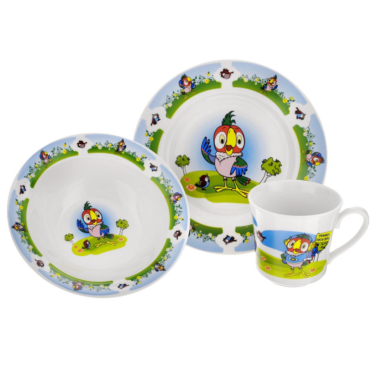 Набор детской фарфоровой посуды Союзмультфильм Попугай Кеша, 3 предмета