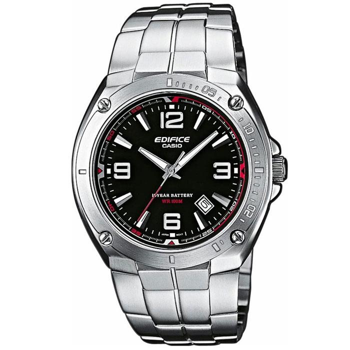 Наручные часы Casio EF-126D-1AEF-125D-2AМужские часы Casio EF-126D. Светящееся покрытие обеспечивает длительную подсветку в темное время суток после короткого воздействия света. Прочное, устойчивое к царапинам минеральное стекло защищает часы от повреждений. Резьбовое соединение на основании корпуса оптимально защищает внутренний механизм часов и одновременно обеспечивает легкий доступ, например, при замене аккумулятора. Надежный, прочный и элегантный: браслет из нержавеющей стали придает Вашим часам классический вид. Всегда надежно: у этих часов есть особая безопасная предохранительная защелка, которая помогает предотвратить случайное расстегивание ремешка. Десять лет - один аккумулятор. Новые разработки в электронике обеспечивают значительно более низкое потребление энергии. Идеально подходит для плавания с маской и трубкой: часы являются водонепроницаемыми до 10 Бар/на глубине до 100 метров. Значение метров не относится к глубине погружения, но относится к атмосферному...