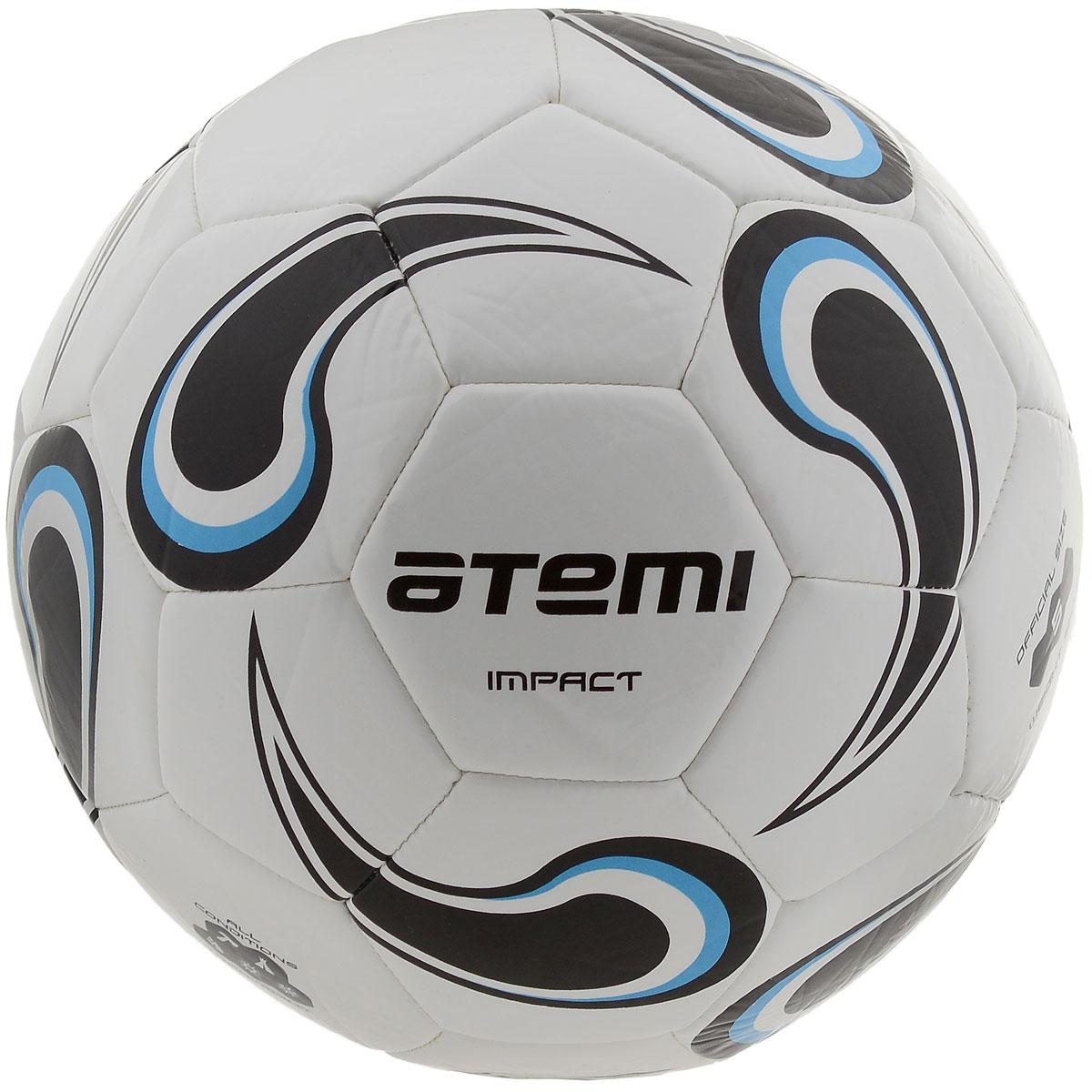 """Atemi Мяч футбольный Atemi """"Impact"""", цвет: белый, черный, голубой. Размер 5"""