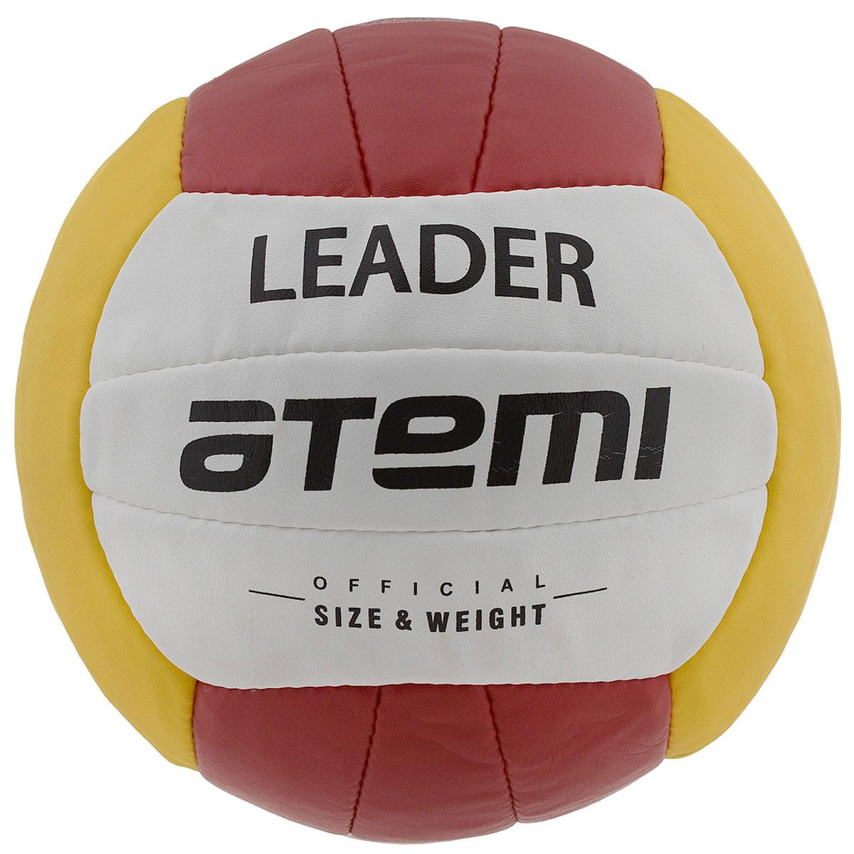 """Atemi Мяч волейбольный Atemi """"Leader"""", цвет: желтый, красный, белый"""