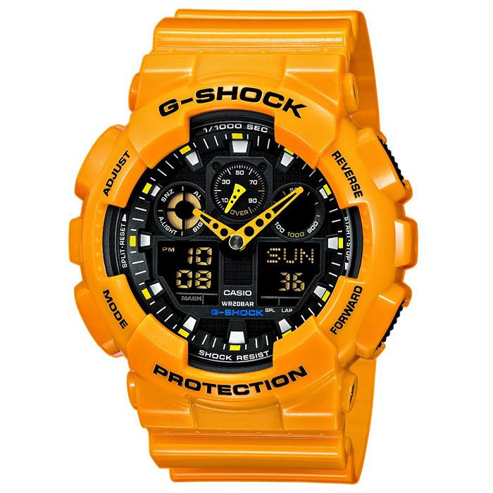 Наручные часы Casio GA-100A-9AGA-100A-9AВодонепроницаемые и противоударные часы Casio GA-100. Длина ремешка с учетом корпуса 24,5 см. Ширина ремешка 2,2 см. Диаметр корпуса 5 см.