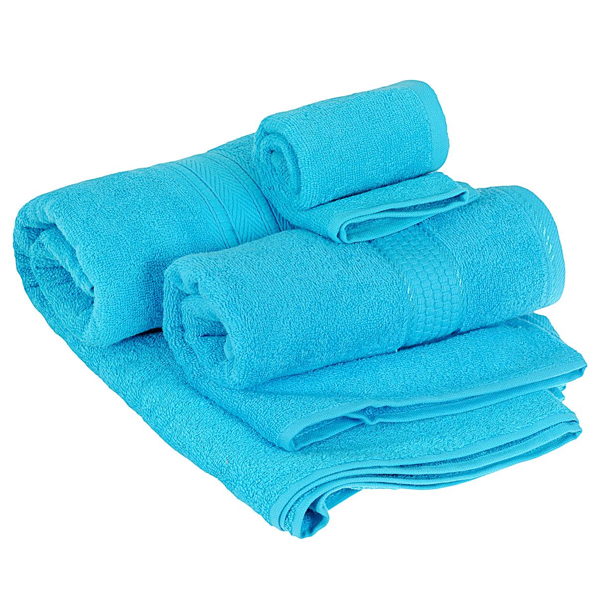 Набор махровых полотенец Osborn Textile, цвет: бирюзовый, 3 штУзТ-КМП-08-07Набор Osborn Textile состоит из трех полотенец разного размера, выполненных из натурального хлопка. Такие полотенца отлично впитывают влагу, быстро сохнут, сохраняют яркость цвета и не теряют формы даже после многократных стирок. Полотенца очень практичны и неприхотливы в уходе. Размер полотенец: 40 см х 40 см; 50 см х 90 см; 70 см х 140 см. Плотность: 450 г/м2.