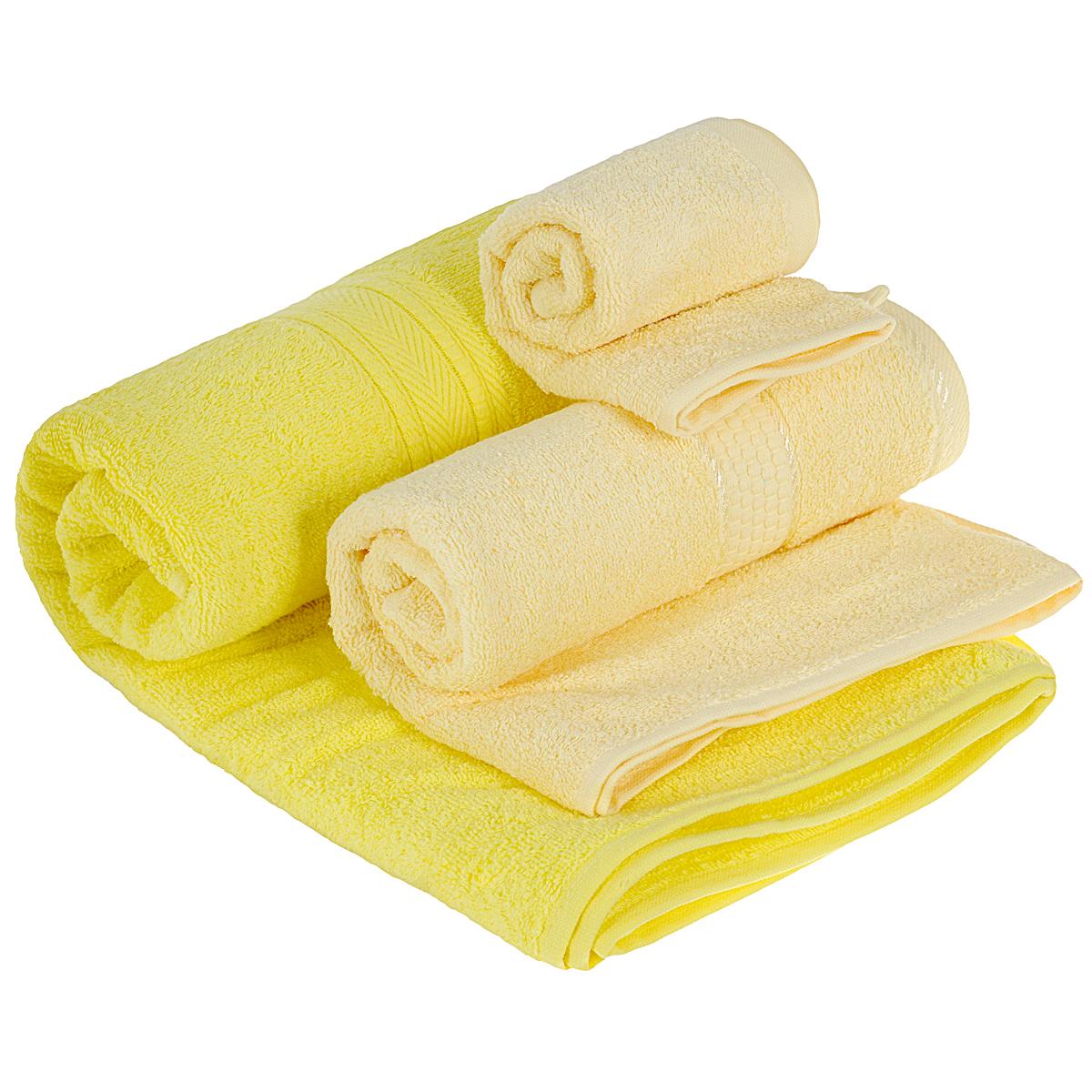 Набор махровых полотенец Osborn Textile, цвет: лимонный, 3 штУзТ-КМП-08-02Набор Osborn Textile состоит из трех полотенец разного размера, выполненных из натурального хлопка. Такие полотенца отлично впитывают влагу, быстро сохнут, сохраняют яркость цвета и не теряют формы даже после многократных стирок. Полотенца очень практичны и неприхотливы в уходе. Размер полотенец: 40 см х 40 см; 50 см х 90 см; 70 см х 140 см. Плотность: 450 г/м2.