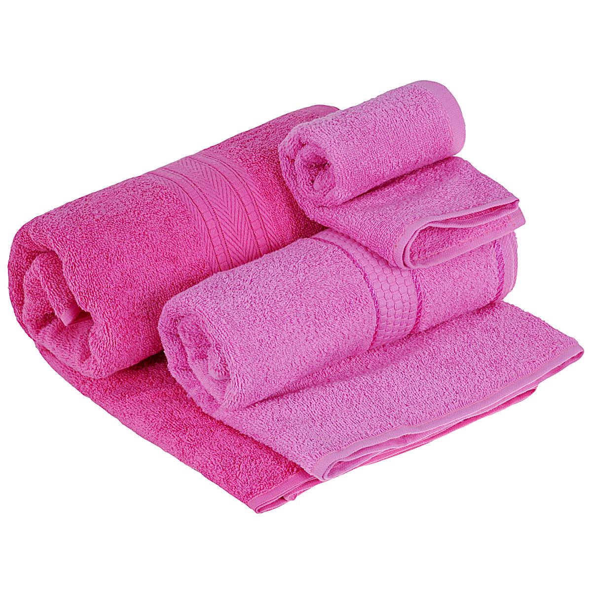 Набор махровых полотенец Osborn Textile, цвет: розовый, 3 штУзТ-КМП-08-04Набор Osborn Textile состоит из трех полотенец разного размера, выполненных из натурального хлопка. Такие полотенца отлично впитывают влагу, быстро сохнут, сохраняют яркость цвета и не теряют формы даже после многократных стирок. Полотенца очень практичны и неприхотливы в уходе. Размер полотенец: 40 см х 40 см; 50 см х 90 см; 70 см х 140 см. Плотность: 450 г/м2.