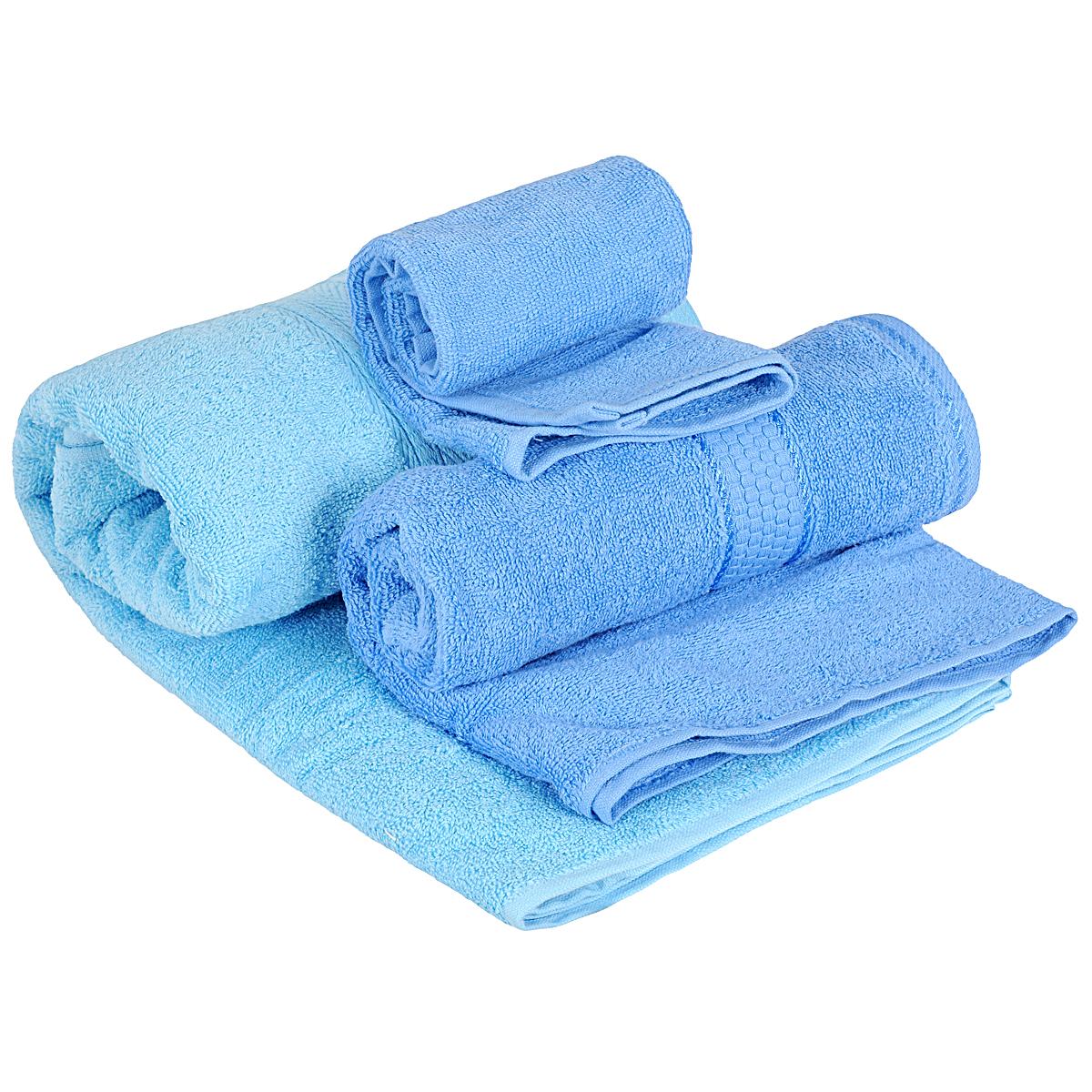 Набор махровых полотенец Osborn Textile, цвет: голубой, 3 штУзТ-КМП-08-06Набор Osborn Textile состоит из трех полотенец разного размера, выполненных из натурального хлопка. Такие полотенца отлично впитывают влагу, быстро сохнут, сохраняют яркость цвета и не теряют формы даже после многократных стирок. Полотенца очень практичны и неприхотливы в уходе. Размер полотенец: 40 см х 40 см; 50 см х 90 см; 70 см х 140 см. Плотность: 450 г/м2.