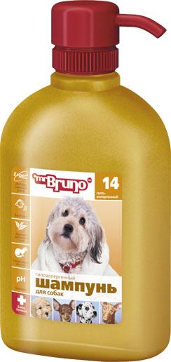 Шампунь-кондиционер для собак Mr. Bruno, гипоаллергенный, 350 млMB05-00750Гипоаллергенный шампунь для собак Mr. Bruno специально разработан для собак с чувствительной кожей. Содержащееся в его составе норковое масло: не вызывает аллергии; ухаживает за шерстью, питая её от корней до кончиков; легко проникает в кожу, делая ее нежной и мягкой; восстанавливает гидро - липидный защитный барьер; является идеальным средством защиты кожи и шерсти от повреждающего воздействия сухого морозного воздуха и избыточных УФ лучей. Уникальная формула шампуня не содержит мыла и, следовательно, не раздражает глаза вашего четвероногого друга при купании. Кондиционер способствует поддержанию естественного кислотно-щелочного баланса кожи и придаёт шерсти насыщенный свежий аромат зелёного чая. Товар сертифицирован.