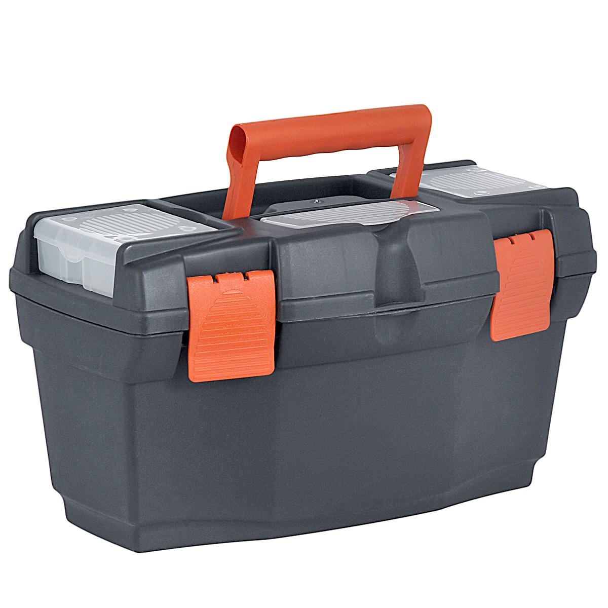 Ящик для инструментов Blocker Master, со съемным органайзером, 40,5 х 23 х 21,5 смПЦ3701Ящик Blocker Master изготовлен из прочного пластика и предназначен для хранения и переноски инструментов. Вместительный, внутри имеет большое главное отделение. В комплект входит съемный лоток, оснащенный линейкой. Крышка ящика оснащена двумя съемными органайзерами и отделением для хранения бит. Закрывается при помощи крепких защелок, которые не допускают случайного открывания. Для более комфортного переноса в руках, на крышке ящика предусмотрена удобная ручка.