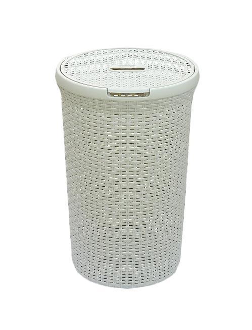 Корзина для белья РАТТАН, круглая, цвет: молочный, 48 л00710-885-00