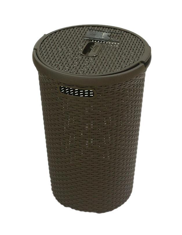 Корзина для белья РАТТАН, круглая, цвет: темно-коричневый, 48 л00710-210-00