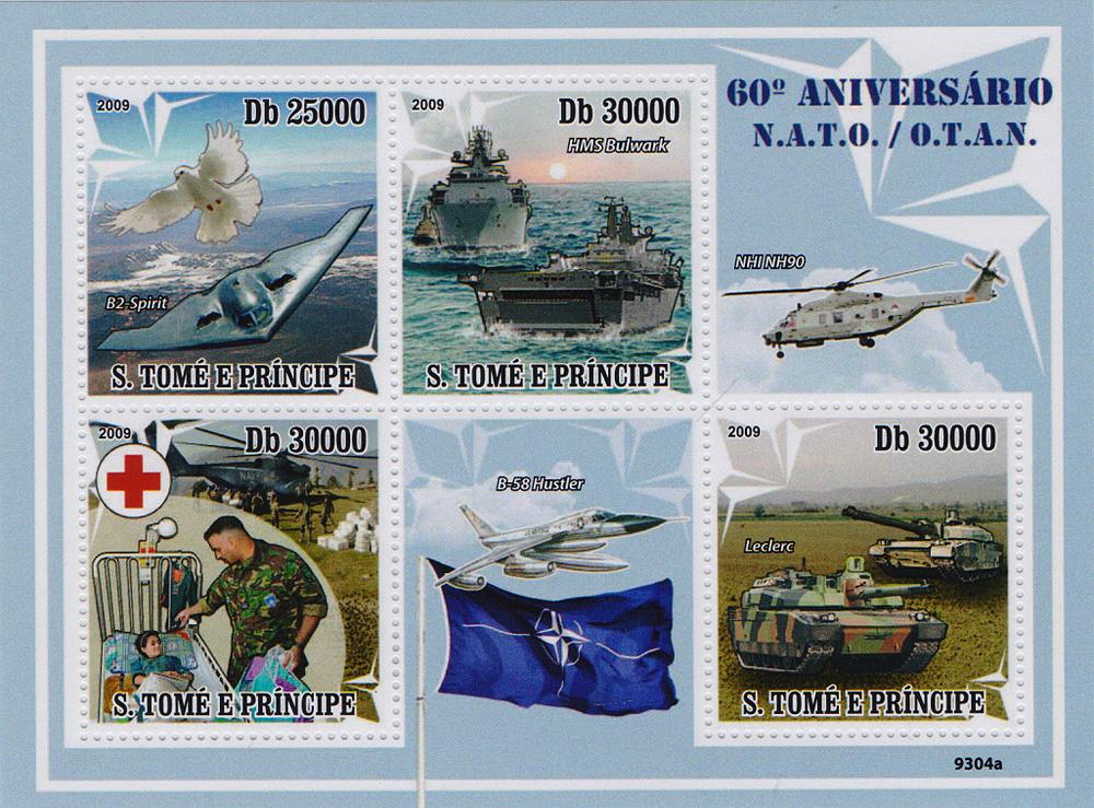 Малый лист 60 лет НАТО. Сан-Томе и Принсипи. 2009 год691503Малый лист 60 лет НАТО. Сан-Томе и Принсипи. 2009 год. Размер листа: 10 х 13 см. Размер марок: 4 х 3.6 см. Сохранность хорошая.