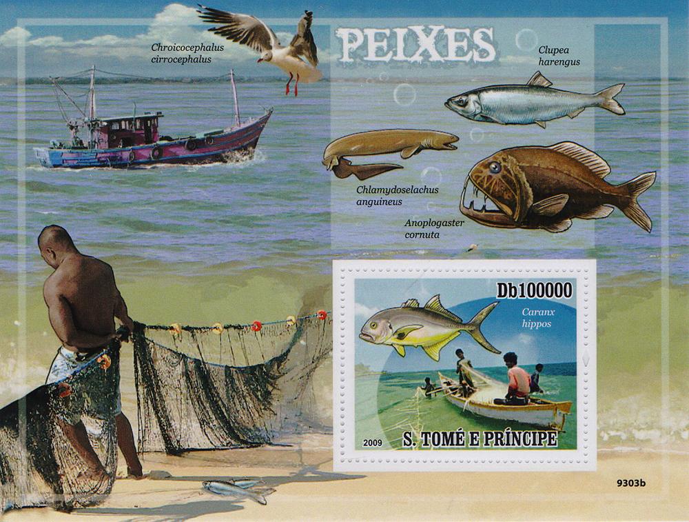 Почтовый блок Рыбы. Сан-Томе и Принсипи. 2009 год691503Почтовый блок Рыбы. Сан-Томе и Принсипи. 2009 год. Размер блока: 10.8 х 14.2 см. Размер марки: 4 х 5 см. Сохранность хорошая.